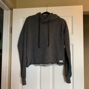 Gray Cropped Abercrombie & Fitch Hoodie